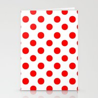 polka dots Stationery Cards featuring Polka Dots (Red/White) by 10813 Apparel