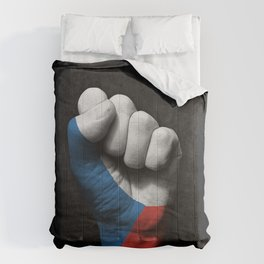 Czech Flag on a Raised Clenched Fist Comforters