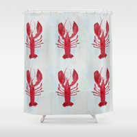 lobster Shower Curtains featuring Coastal Lobster by Ann Marie Coolick
