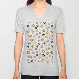 Cute all over Print Of Dog Little Paws and Footprints Unisex V-Neck