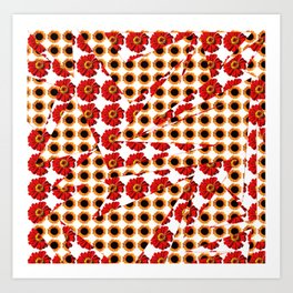 Abstract shapes with flower patterns Art Print