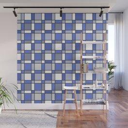 Blue Hue Checkers Wall Mural