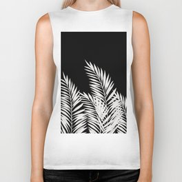 Palm Leaves White Biker Tank