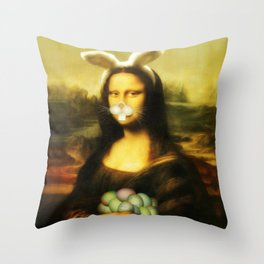Easter Mona Lisa with Whiskers and Bunny Ears Throw Pillow