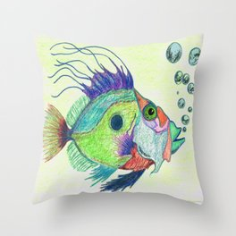 Funky Fish Art - By Sharon Cummings Throw Pillow