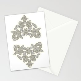 'Love 03' - Dutch heart of lace in grey and soft yellow Stationery Cards