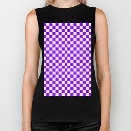Small Checkered - White and Violet Biker Tank