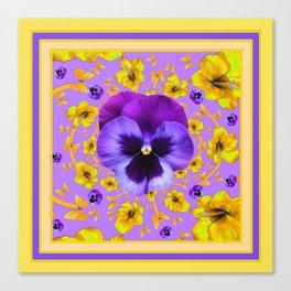 PANSIES YELLOW BUTTERFLIES & FLOWERS GARDEN Canvas Print