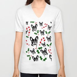 CHRISTMAS GIFTS, FRENCH BULLDOG LOVERS GIFT WRAPPED FROM MONOFACES IN 2020 Unisex V-Neck
