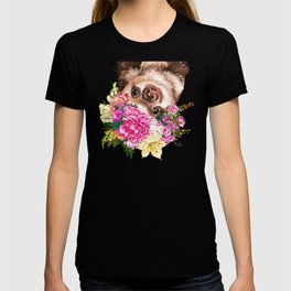 Flower Crown Baby Sloth in Pink T-shirt