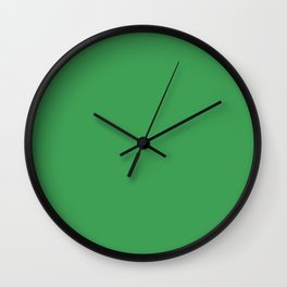Solid Fresh Clover Green Color Wall Clock