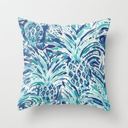 PINEAPPLE WAVE Blue Painterly Watercolor Throw Pillow