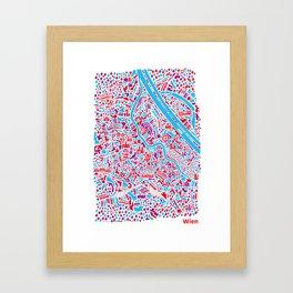 Vienna City Map Poster Framed Art Print