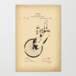 1896 Patent Design for a marker for bicycle routes Canvas Print