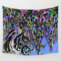tigers Wall Tapestries featuring Tigers and Butterflies and Waterfalls #2 by Saundra Myles