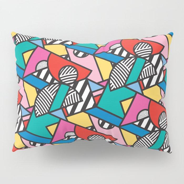 Colorful Memphis Modern Geometric Shapes - Tribal Kente African Aztec Pillow Sham