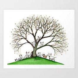 Bull Terriers Whimsical Dogs in Tree Art Print