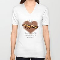 bacon V-neck T-shirts featuring Bacon  by BrasaPanda