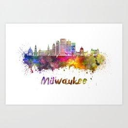 Milwaukee V2  skyline in watercolor Art Print