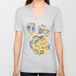 Midas Rose in Charming Blue Unisex V-Neck