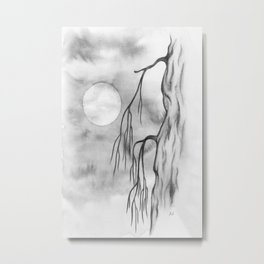 Light moon, a minimal watercolour in moonchrome Metal Print