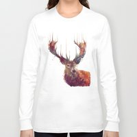 watercolor Long Sleeve T-shirts featuring Red Deer // Stag by Amy Hamilton