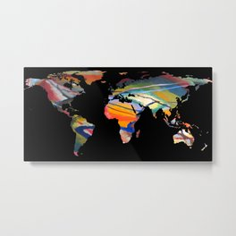 World Map Silhouette - An Abstract World Metal Print