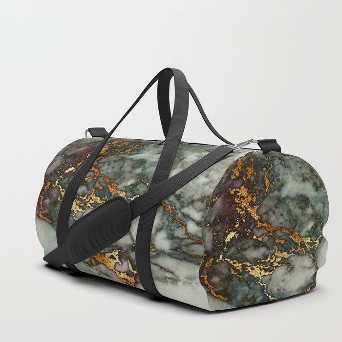Gray Green Marble Glitter Gold Metallic Foil Style Duffle Bag