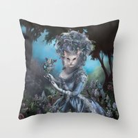 marie antoinette Throw Pillows featuring Marie Antoinette by Christina Hess