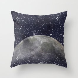 Mystic Galaxy Constellation Moon Stars and Cosmic Space White Throw Pillow