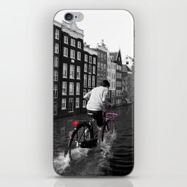 Boy Ridiing his Bike down Amsterdam Canals iPhone Skin