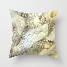 White Marble with Earth Tones Throw Pillow