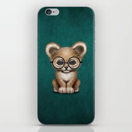 Cute Baby Lion Cub Wearing Glasses on Blue iPhone Skin