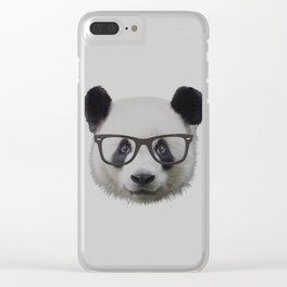 Panda with Nerd Glasses Clear iPhone Case
