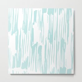 Bamboo Stripe White on Succulent Blue Metal Print