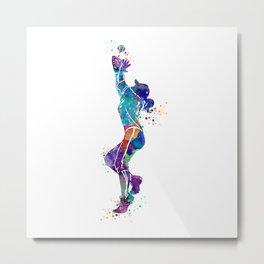 Girl Baseball Player Softball Fielder Colorful Watercolor Art Metal Print
