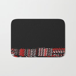 Undressing in Woven Red and Black Bath Mat
