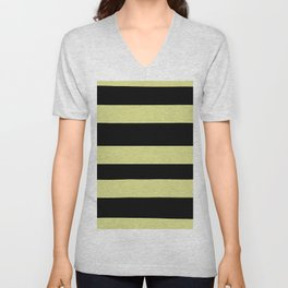 VA Lime Green - Lime Mousse - Bright Cactus Green - Celery Hand Drawn Fat Horizontal Lines on Black Unisex V-Neck