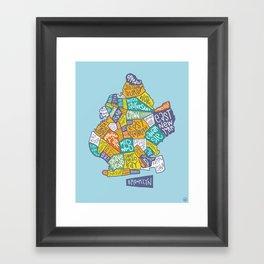 Brooklyn typo map Framed Art Print