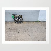 brompton Art Prints featuring Brompton Folding Bike by Seth W.