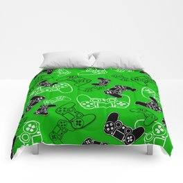 Video Games Green Comforters