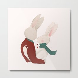 Couple of rabbits in love Metal Print