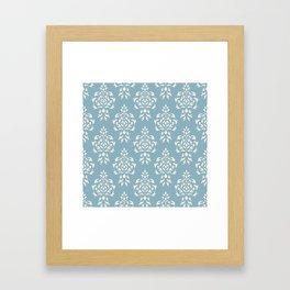 Crest Damask Repeat Pattern Cream on Blue Framed Art Print