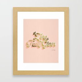 Zero F*cks Given – Blush & Gold Palette Framed Art Print