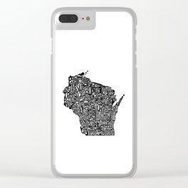 Typographic Wisconsin Clear iPhone Case