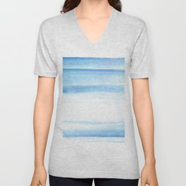 180527 Abstact Watercolor 25 Blue| Watercolor Brush Strokes Unisex V-Neck