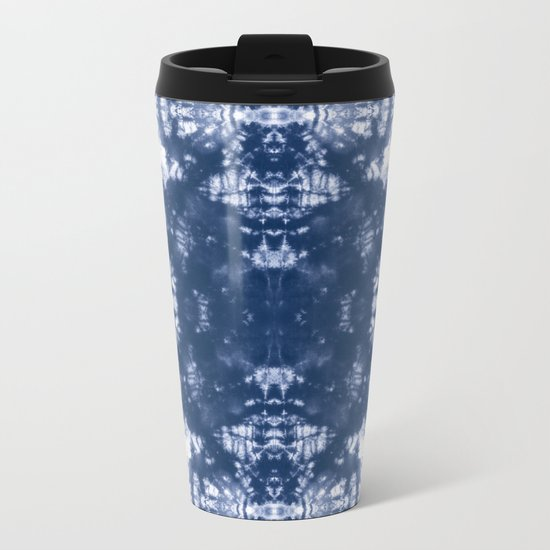 Shibori Tie Dye 2 Indigo Blue Metal Travel Mug