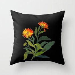 Calendula Officinalis Mary Delany Floral Paper Collage Delicate Vintage Flowers Throw Pillow