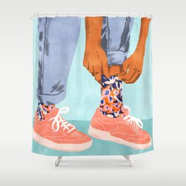 Pull Up Those Pretty Socks! #painting #illustration Shower Curtain