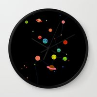 planets Wall Clocks featuring Planets by camilla falsini